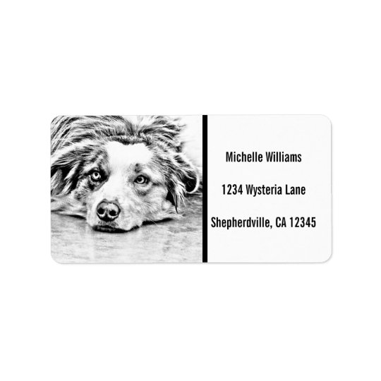 Australian Shepherd dog art Label