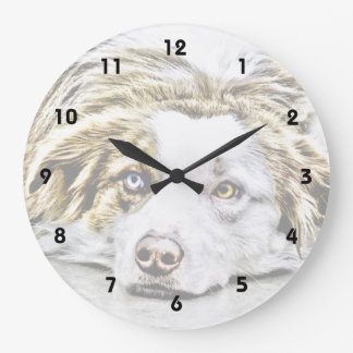 Australian Shepherd dog art Large Clock