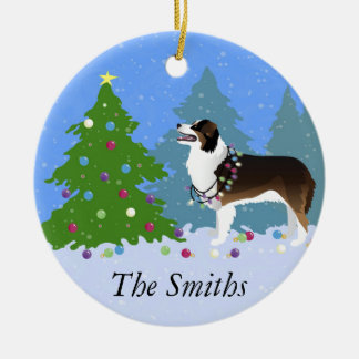 Australian Shepherd Dog Decorating Christmas Tree Ceramic Ornament