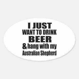 Australian Shepherd Dog Designs Oval Sticker
