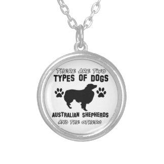 australian shepherd dog designs round pendant necklace