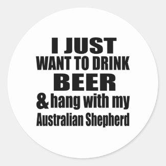 Australian Shepherd Dog Designs Round Sticker