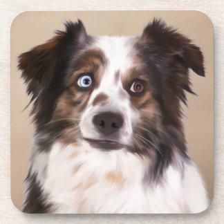 Australian Shepherd Dog Oil Painting Art Beverage Coaster