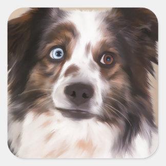 Australian Shepherd Dog Oil Painting Art Square Sticker