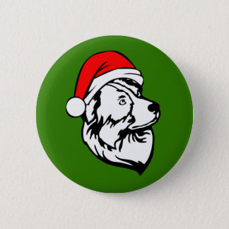 Australian Shepherd Dog with Christmas Santa Hat 6 Cm Round Badge