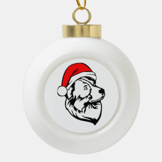 Australian Shepherd Dog with Christmas Santa Hat Ceramic Ball Christmas Ornament