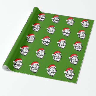 Australian Shepherd Dog with Christmas Santa Hat Wrapping Paper
