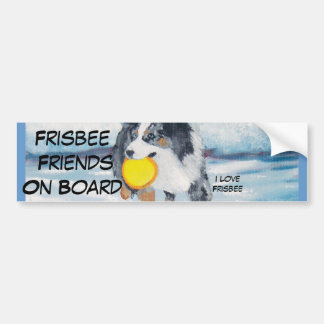 "Australian Shepherd Frisbee Dog ""Yippee"" Painting Bumper Sticker"