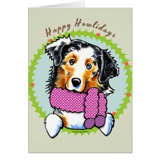 Australian Shepherd Happy Howlidays Greeting Card