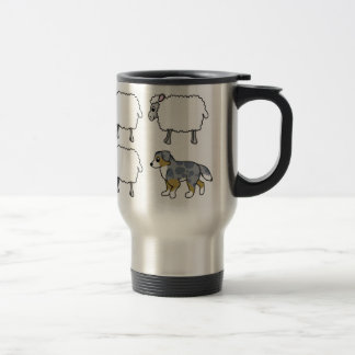 Australian Shepherd Herding Sheep Travel Mug