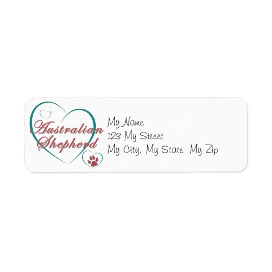 Australian Shepherd Love Return Address Label