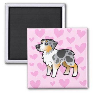 Australian Shepherd Love Square Magnet