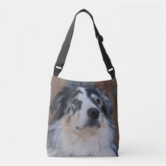 Australian Shepherd Mix Close-Up Photograph Crossbody Bag