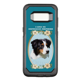 Australian Shepherd on Teal Floral OtterBox Commuter Samsung Galaxy S8 Case