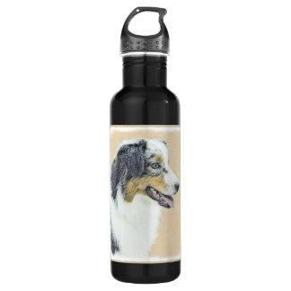 Australian Shepherd Painting - Original Dog Art 710 Ml Water Bottle