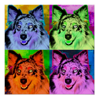 Australian Shepherd Pop Art Poster