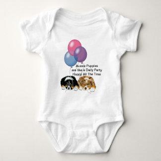 Australian Shepherd Puppies Daily Party Baby Bodysuit