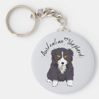 Australian Shepherd, puppy, black Key Ring