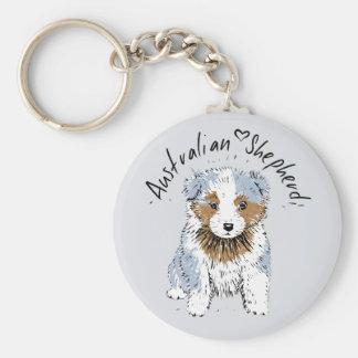 Australian Shepherd, puppy, blue merle Key Ring