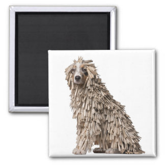Australian Shepherd puppy full of Clothespin (5 Square Magnet