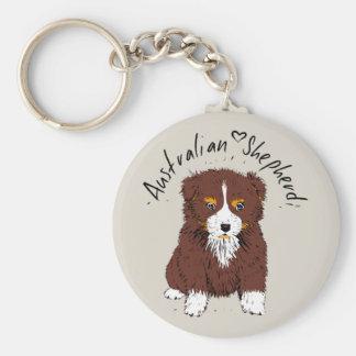 Australian Shepherd, puppy, talk bi Key Ring