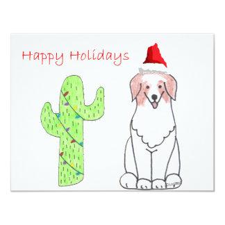 Australian Shepherd Red Cactus Christmas Custom Invitation