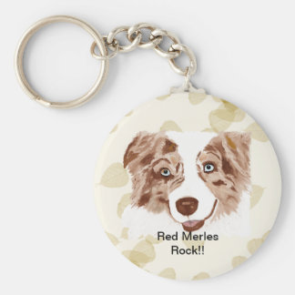 Australian Shepherd Red Merle Dog Keychain