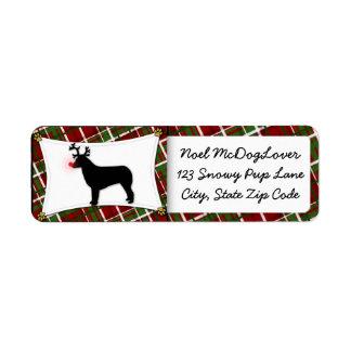 Australian Shepherd Reindeer Christmas Return Address Label