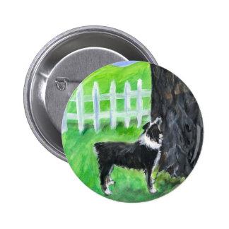 Australian Shepherd sees squirrel Pinback Button
