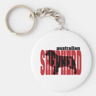 Australian Shepherd silhouette Key Ring