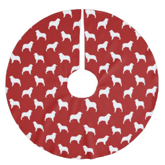 Australian Shepherd Silhouettes Pattern Brushed Polyester Tree Skirt
