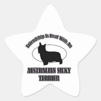 AUSTRALIAN SILKY TERRIER DOG DESIGNS STAR STICKERS