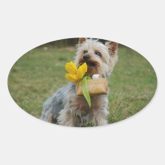Australian Silky Terrier Dog Oval Sticker
