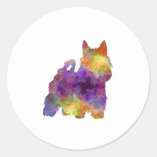 Australian Silky Terrier in watercolor Classic Round Sticker