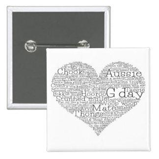 Australian slang heart 15 cm square badge