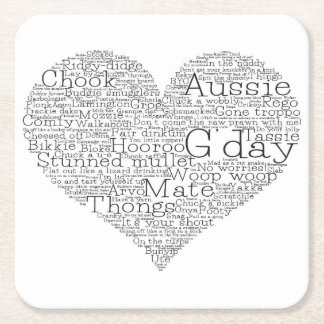 Australian slang heart square paper coaster
