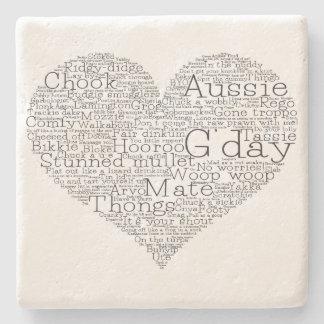 Australian slang heart stone coaster