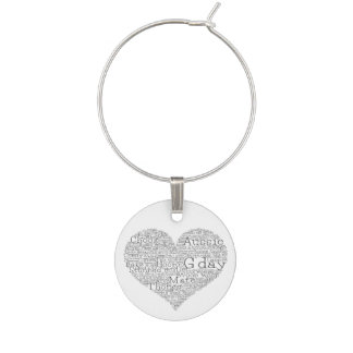 Australian slang heart wine glass charms