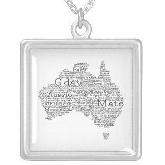 Australian slang map silver plated necklace