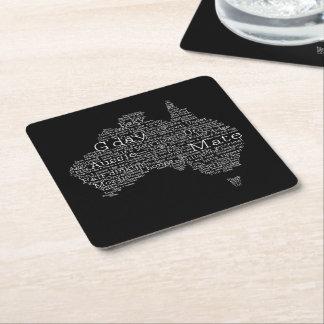 Australian slang map square paper coaster