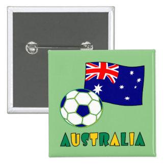 Australian Soccer Ball and Flag 1 15 Cm Square Badge