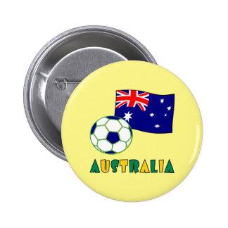 Australian Soccer Ball and Flag 1 6 Cm Round Badge