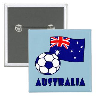 Australian Soccer Ball and Flag 2 15 Cm Square Badge