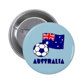 Australian Soccer Ball and Flag 2 6 Cm Round Badge
