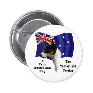 Australian Tenterfield Terrier tricolour with Flag 6 Cm Round Badge