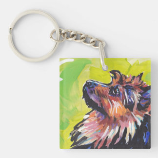 australian terrier Bright Colorful Pop Dog Art Double-Sided Square Acrylic Key Ring