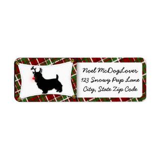 Australian Terrier Reindeer Christmas Return Address Label