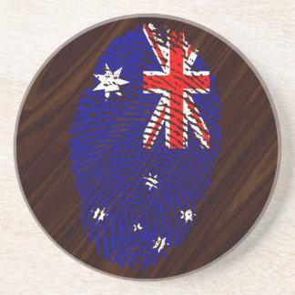 Australian touch fingerprint flag beverage coaster