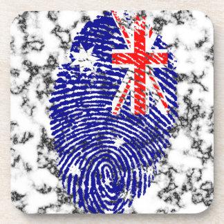 Australian touch fingerprint flag drink coaster