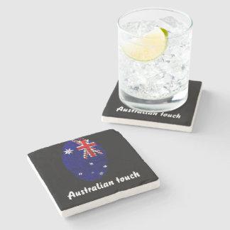 Australian touch fingerprint flag stone coaster